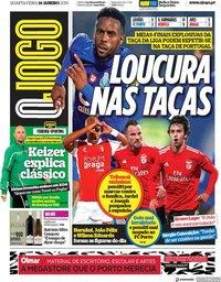 capa Jornal O Jogo de 16 janeiro 2019