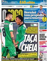 capa Jornal O Jogo de 17 janeiro 2019