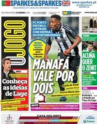 capa Jornal O Jogo de 21 janeiro 2019