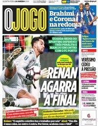 capa Jornal O Jogo de 24 janeiro 2019