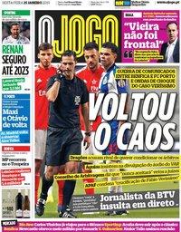 capa Jornal O Jogo de 25 janeiro 2019