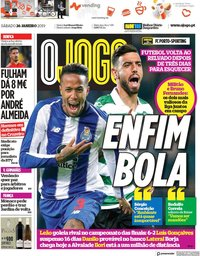 capa Jornal O Jogo de 26 janeiro 2019