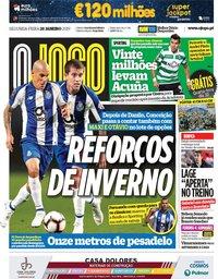 capa Jornal O Jogo de 28 janeiro 2019
