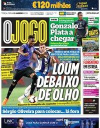capa Jornal O Jogo de 29 janeiro 2019