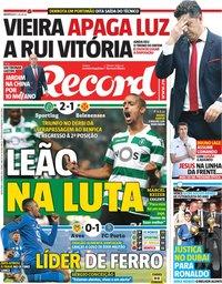 capa Jornal Record de 4 janeiro 2019