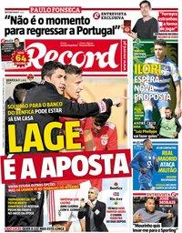 capa Jornal Record de 6 janeiro 2019