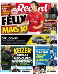 capa Jornal Record de 11 janeiro 2019