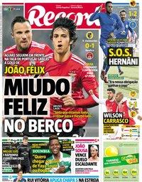capa Jornal Record de 16 janeiro 2019