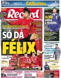 capa Jornal Record de 18 janeiro 2019
