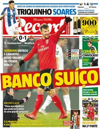 capa Jornal Record de 19 janeiro 2019