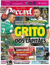 capa Jornal Record de 20 janeiro 2019