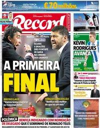 capa Jornal Record de 22 janeiro 2019