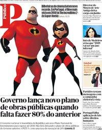 capa Público de 3 janeiro 2019