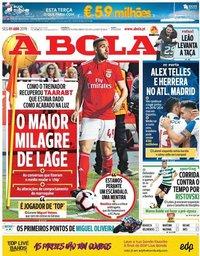 capa Jornal A Bola de 1 abril 2019