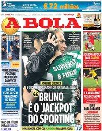 capa Jornal A Bola de 5 abril 2019