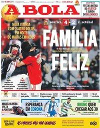 capa Jornal A Bola de 15 abril 2019