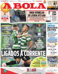 capa Jornal A Bola de 28 abril 2019