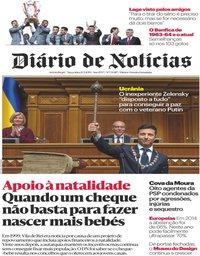 capa Diário de Notícias de 21 maio 2019