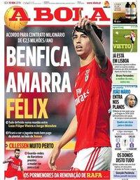 capa Jornal A Bola de 10 maio 2019