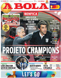 capa Jornal A Bola de 20 maio 2019