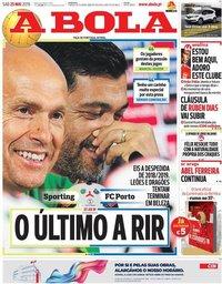 capa Jornal A Bola de 25 maio 2019