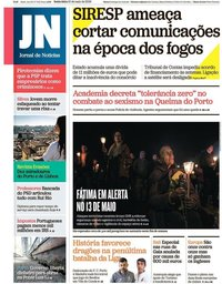 capa Jornal de Notícias de 10 maio 2019