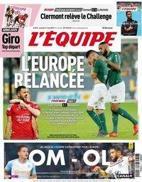 capa Jornal L'Équipe de 11 maio 2019