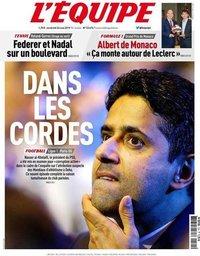 capa Jornal L'Équipe de 24 maio 2019