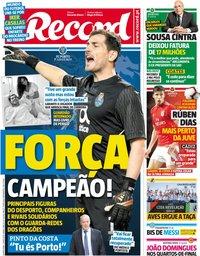 capa Jornal Record de 2 maio 2019