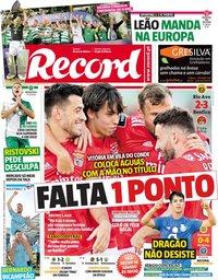 capa Jornal Record de 13 maio 2019