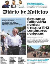 capa Diário de Notícias de 3 junho 2019