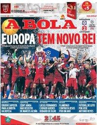 capa Jornal A Bola de 2 junho 2019