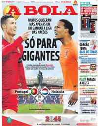 capa Jornal A Bola de 9 junho 2019