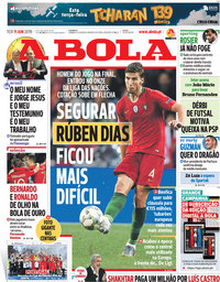 capa Jornal A Bola de 11 junho 2019