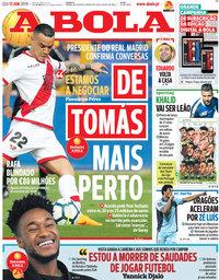 capa Jornal A Bola de 13 junho 2019