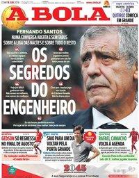 capa Jornal A Bola de 16 junho 2019