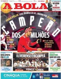 capa Jornal A Bola de 18 junho 2019