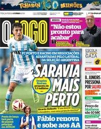 capa Jornal O Jogo de 4 junho 2019