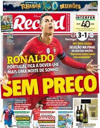 capa Jornal Record de 6 junho 2019