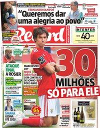 capa Jornal Record de 9 junho 2019