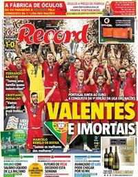 capa Jornal Record de 10 junho 2019