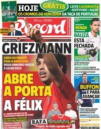 capa Jornal Record de 13 junho 2019