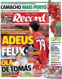 capa Jornal Record de 18 junho 2019