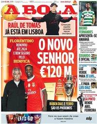 capa Jornal A Bola de 3 julho 2019