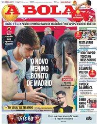 capa Jornal A Bola de 8 julho 2019