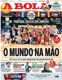 capa Jornal A Bola de 15 julho 2019