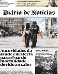 capa Diário de Notícias de 1 agosto 2018