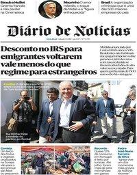 capa Diário de Notícias de 1 setembro 2018