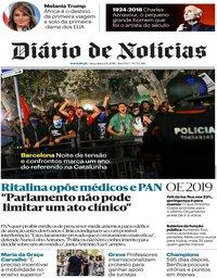 capa Diário de Notícias de 2 outubro 2018