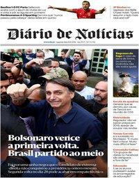 capa Diário de Notícias de 8 outubro 2018